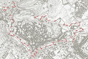 Rete topografica di supporto per il rilievo delle mura veneziane.